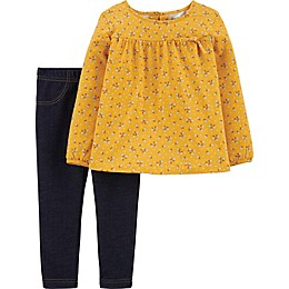 carter's® 2-Piece Top and Jeggings Set in Yellow/Blue