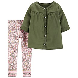 carter's® 2-Piece Floral Woven Top and Pant Set in Olive
