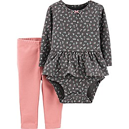 carter's® 2-Piece Floral Peplum Bodysuit and Pant Set in Grey