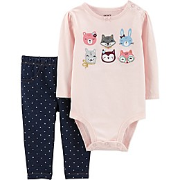 carter's® 2-Piece Animal Bodysuit and Pant Set in Pink