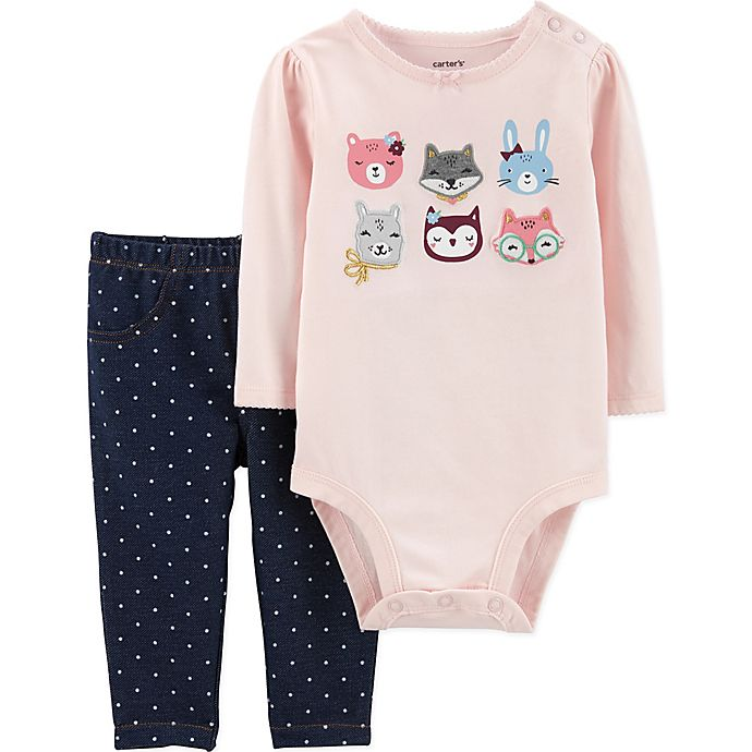 Alternate image 1 for carter's® 2-Piece Animal Bodysuit and Pant Set in Pink