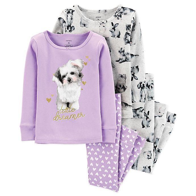 Alternate image 1 for carter's® 4-Piece Little Dreamer Dog Cotton Pajama Set in Purple