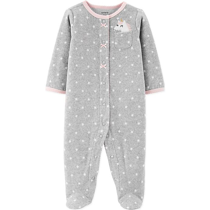 Alternate image 1 for carter's® Size 3M Unicorn Footie in Grey