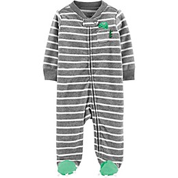 carter's® Preemie Dino Stripe Footie in Grey