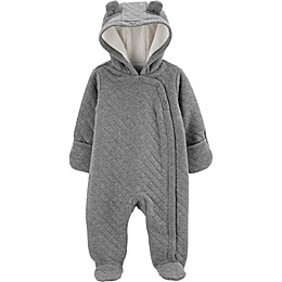 carter's® Newborn Quilted Hooded Parm in Heather Grey