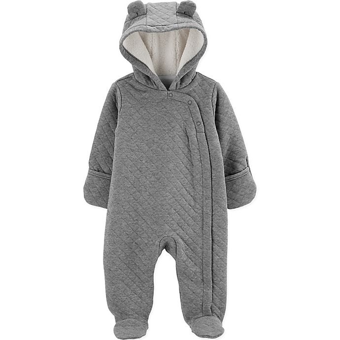 Alternate image 1 for carter's® Newborn Quilted Hooded Parm in Heather Grey