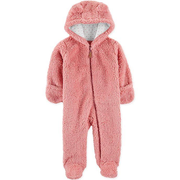 Alternate image 1 for carter's® Newborn Sherpa Hooded Pram in Pink