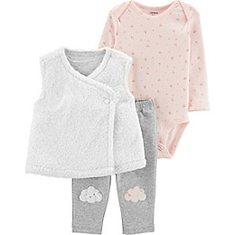 carter's® 3-Piece Sherpa Clouds Bodysuit, Vest, and Pant Set in White