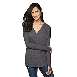 Motherhood Maternity® Pull Over Hooded Nursing Wrap Top in Grey