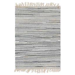 Unique Loom Chindi Stripe 2' x 3' Braided Area Rug in Gray