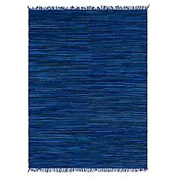 Unique Loom Chindi Stripe 9' x 12' Braided Area Rug in Navy/blue
