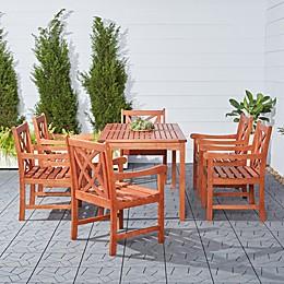 Vifah Malibu 7-Piece Outdoor Dining Set in Brown