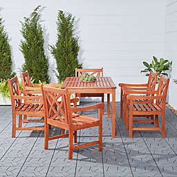 Vifah Malibu 7-Piece Outdoor Dining Set in Brown