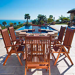 Vifah Malibu 7-Piece Outdoor Curved Leg Dining Set in Brown