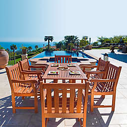 Vifah Malibu 7-Piece Curved Outdoor Dining Set in Brown