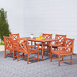 Vifah Malibu 7-Piece Curved Leg Outdoor Dining Set in Brown