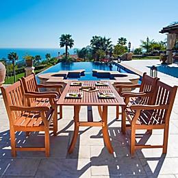 Vifah Malibu 5-Piece Outdoor Patio Dining Set in Brown