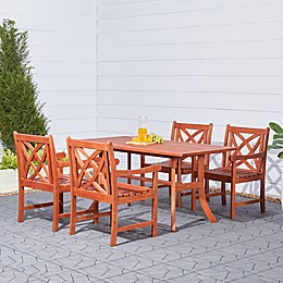 Vifah Malibu 5-Piece Outdoor Curved Leg Dining Set in Brown