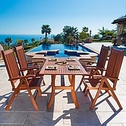 Vifah Malibu 5-Piece Curved Outdoor Dining Set in Brown