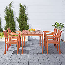 Vifah Malibu 5-Piece Outdoor Stacking Chair Dining Set in Brown