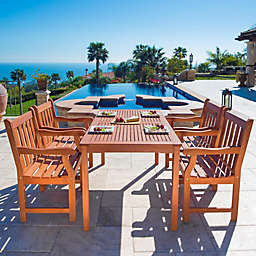 Vifah Malibu 5-Piece Outdoor Slat Dining Set in Brown