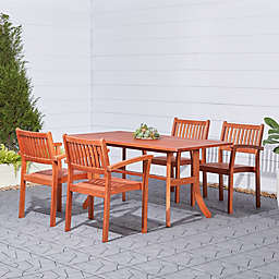 Vifah Malibu 5-Piece Outdoor Stacking Chair Patio Dining Set in Brown