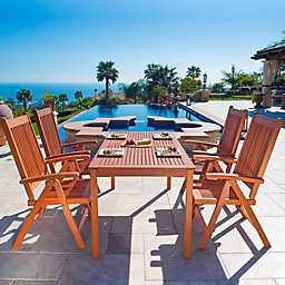 Vifah Malibu 5-Piece Outdoor Dining Set in Brown