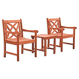 Vifah Malibu 3-Piece Outdoor Conversation Set in Brown