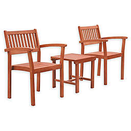 Vifah Malibu 3-Piece Outdoor Stacking Chair Conversation Set in Brown