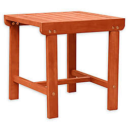 Vifah Malibu Patio Wood Side Table in Brown