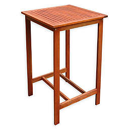 Vifah Malibu Patio Wood Bar Table in Brown