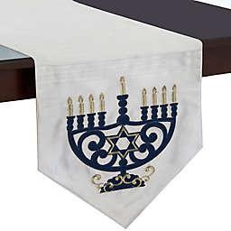 Menorah Lights Hanukkah Table Runner in White
