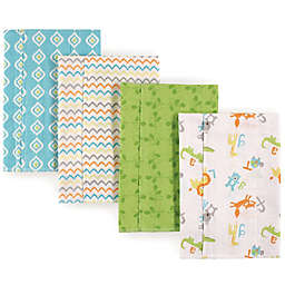 Luvable Friends® 4-Pack Alphabet Burp Cloths in Green