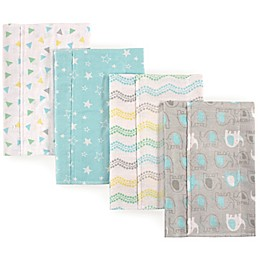 Luvable Friends® 4-Pack Elephant Burp Cloths in Grey