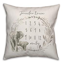 Watercolor Elephant Wreath 18x18 PZ Throw Pillow