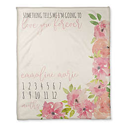 Designs Direct Love You Forever Floral Milestone Throw Blanket