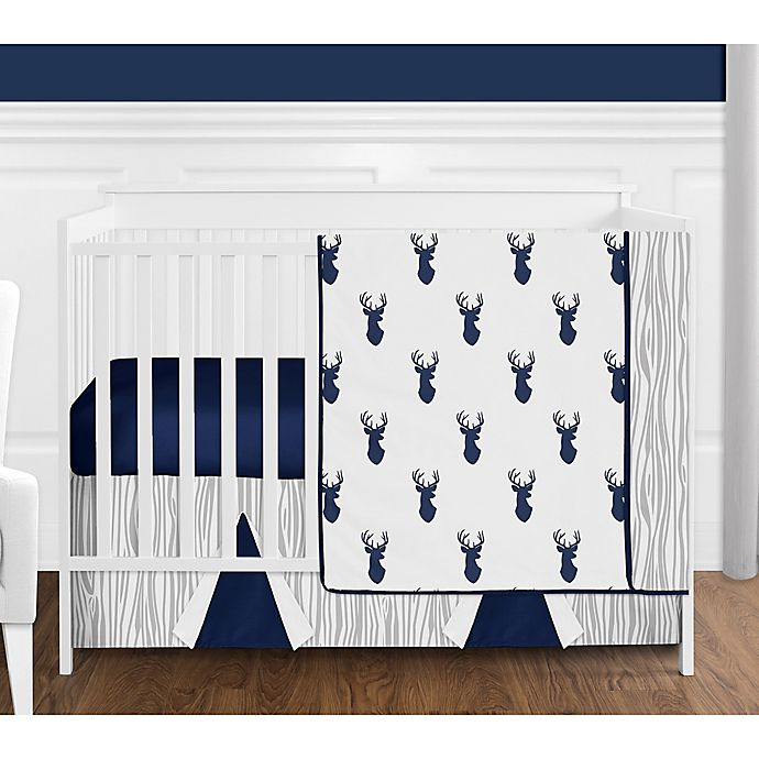 Alternate image 1 for Sweet Jojo Designs Woodland Deer 4-Piece Crib Bedding Set in Blue/Grey