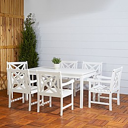Vifah Bradley 7-Piece Outdoor Dining Set in White