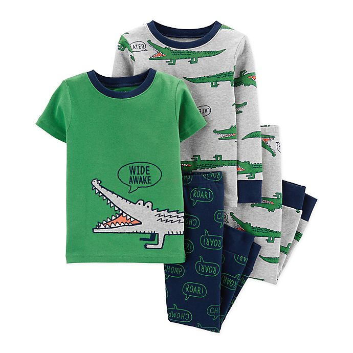 Alternate image 1 for carter's® 4-Piece Gator Pajama Top and Pant Set in Green