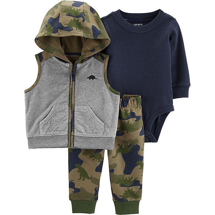 Alternate image 1 for carter's® 3-Piece Camo Bodysuit, Vest, and Pant Set in Grey