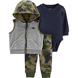 carter's® 3-Piece Camo Bodysuit, Vest, and Pant Set in Grey