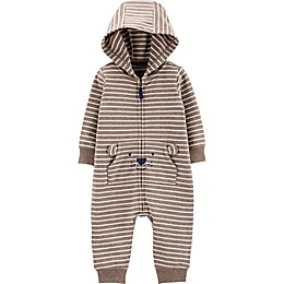 carter's® Hooded Stripe Bear Coverall in Brown