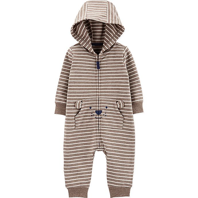 Alternate image 1 for carter's® Hooded Stripe Bear Coverall in Brown