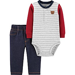 carter's® 2-Piece Bear Henley Bodysuit and Pant Set in Grey