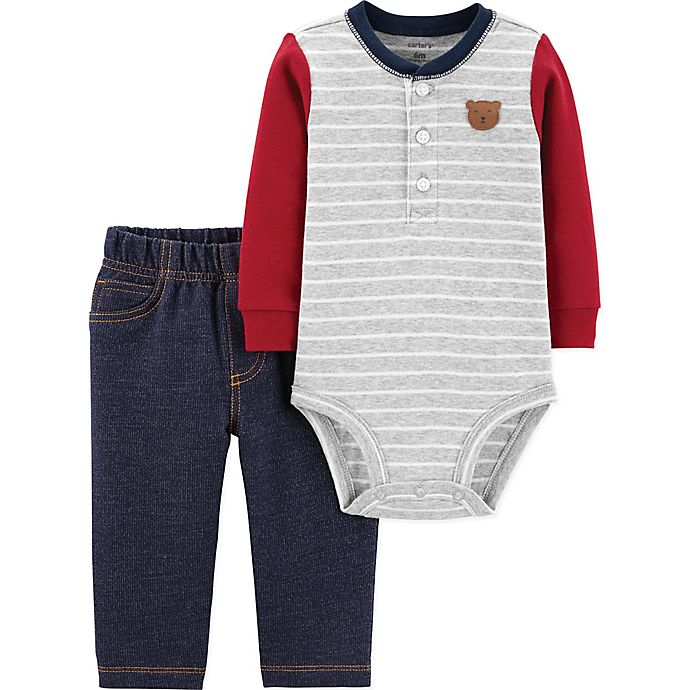 Alternate image 1 for carter's® 2-Piece Bear Henley Bodysuit and Pant Set in Grey