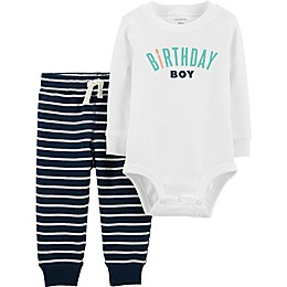 carter's® 2-Piece Birthday Boy Bodysuit and Pant Set in White/Blue