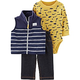 carter's® 3-Piece Animal Print Bodysuit, Fleece Vest, and Pant Set in Navy