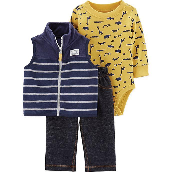 Alternate image 1 for carter's® 3-Piece Animal Print Bodysuit, Fleece Vest, and Pant Set in Navy