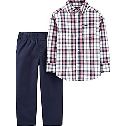 carter's® 2-Piece Plaid Long Sleeve Top and Pant Set in Blue