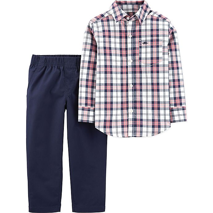 Alternate image 1 for carter's® 2-Piece Plaid Long Sleeve Top and Pant Set in Blue